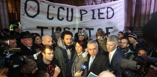 Occupy London barrister Michael Paget pink tie at the High Court following news